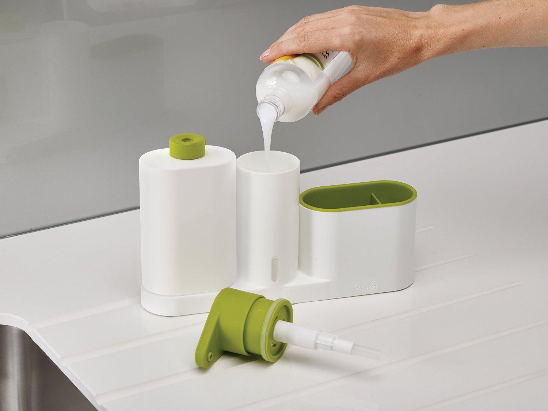 Органайзер для раковины на 3 секции, с дозатором для мыла и бутылочкой Joseph Joseph sinkbase plus,  27х16,5х6 см, зеленый Joseph Joseph 85082 фото 3