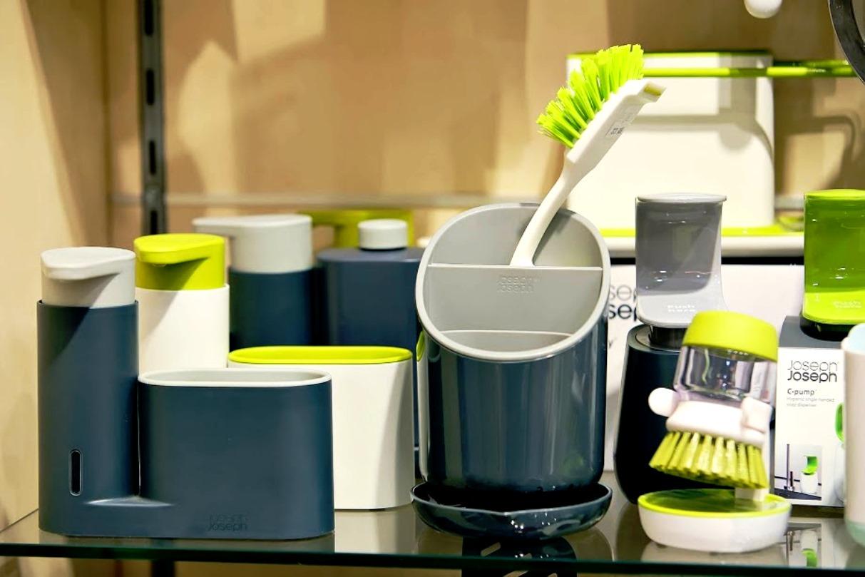 Органайзер для раковины с дозатором для мыла на 2 секции Joseph Joseph sinkbase, 17,8х16,5х6 см, серый Joseph Joseph 85090 фото 5