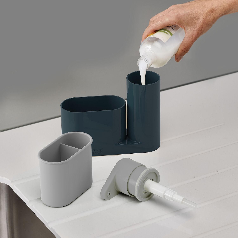 Органайзер для раковины с дозатором для мыла на 2 секции Joseph Joseph sinkbase, 17,8х16,5х6 см, серый Joseph Joseph 85090 фото 2