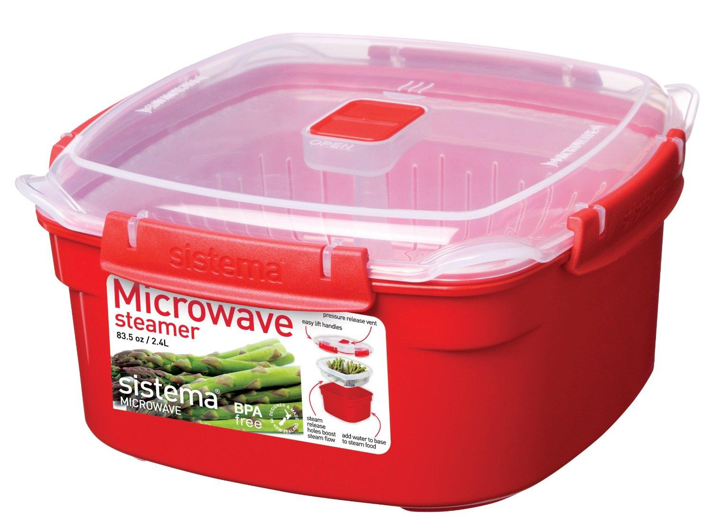 Онлайн каталог PROMENU: Пароварка для микроволновой печи Sistema MICROWAVE, красный Sistema 1102