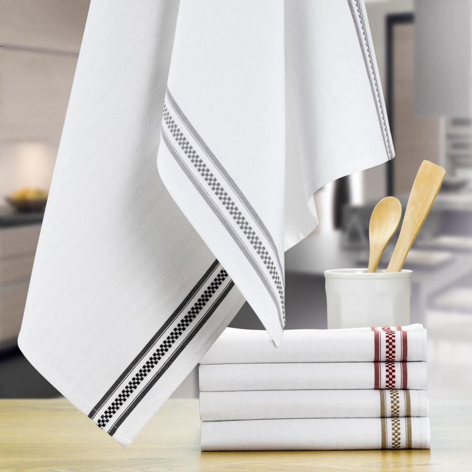Полотенце кухонное Winkler TECHNIQUE, 50х70 см, белый с 2 темно-серыми полосами Winkler 6072087000 фото 1