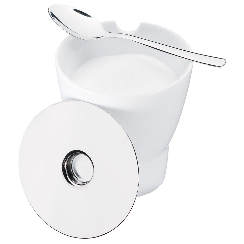 Онлайн каталог PROMENU: Сахарница фарфоровая с ложкой WMF BARISTA, белый с серебристым, 2 предмета WMF 06 3355 6040