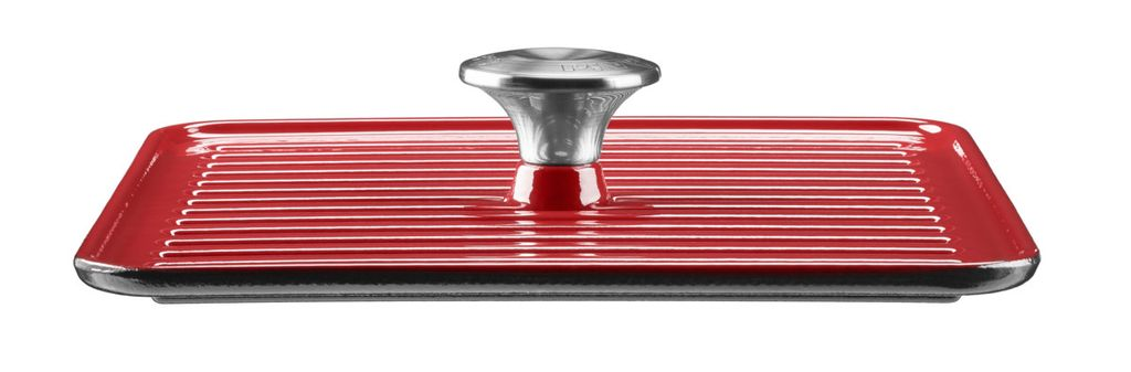 Сковорода-гриль с прессом KitchenAid, 25х25 см, красный KitchenAid KCI10GPER фото 1