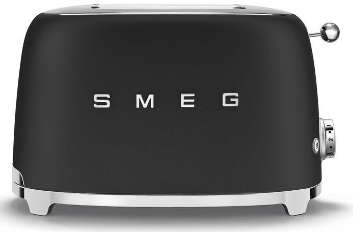 Онлайн каталог PROMENU: Тостер на 2 слота Smeg 50 Style, 19,8 х 31 х 19,5 см, черный чугун Smeg TSF01BLMEU