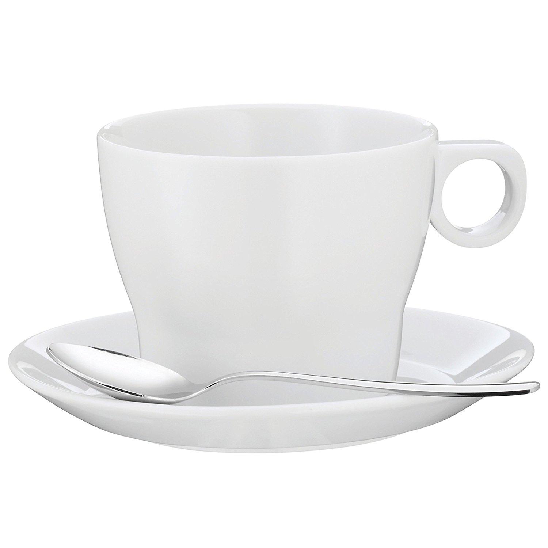 Онлайн каталог PROMENU: Чашка для Cafe au Lait с ложкой и блюдцем WMF, объем 0,225 л, белый, 3 предмета WMF 06 8624 6040