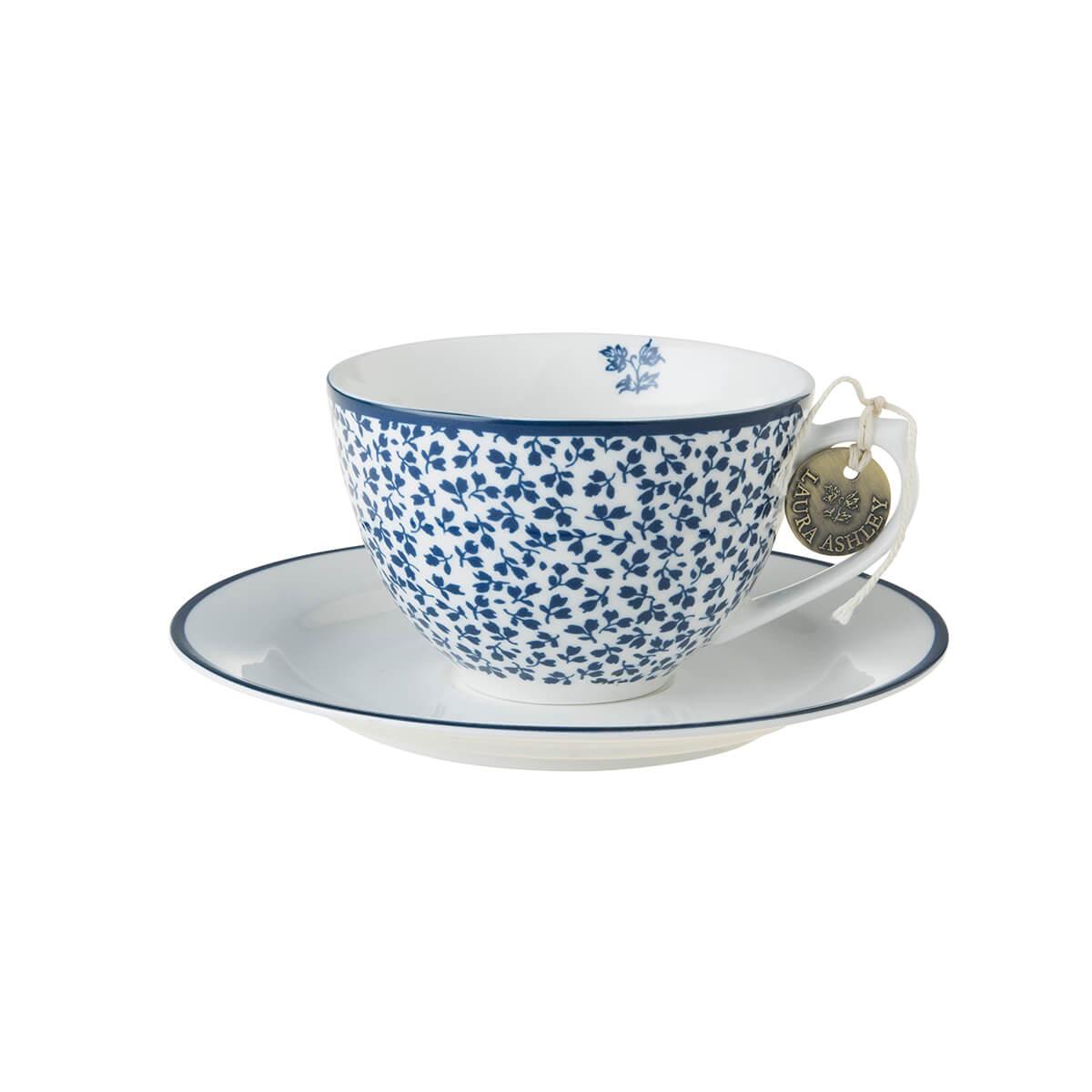 Онлайн каталог PROMENU: Набор: чашка с блюдцем Laura Ashley BLUEPRINT, 2 предмета, белый в синий мелкий цветок Laura Ashley 178676