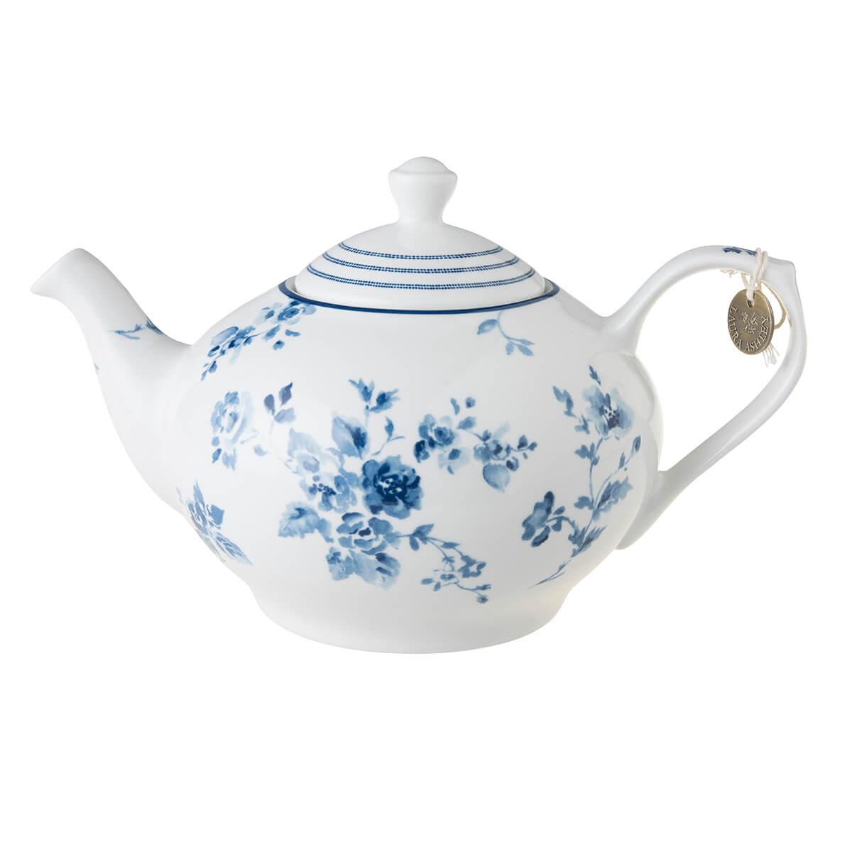 Онлайн каталог PROMENU: Чайник заварочный фарфоровый Laura Ashley BLUEPRINT, объем 1,6 л, белый с синими розами                               178673