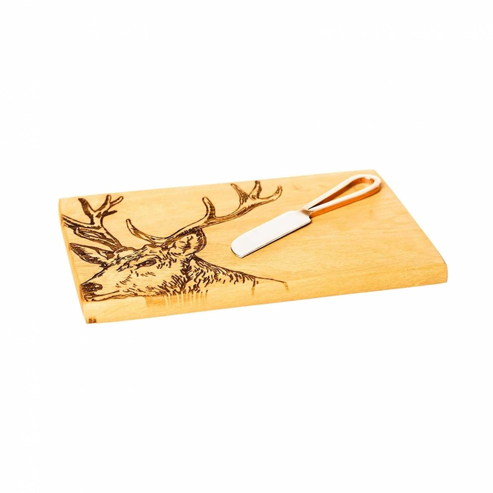 """Онлайн каталог PROMENU: Набор: доска деревянная с гравировкой """"Олень"""" и нож для сыра, бежевый, 2 предмета Scottish Made JS/SO/CBK/S"""