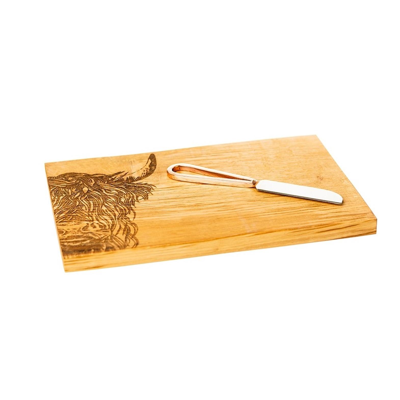 """Онлайн каталог PROMENU: Набор: доска деревянная с гравировкой """"Горная корова"""" (30х20х2 см) и нож для сыра (9 см), бежевый, 2 предмета Scottish Made JS/SO/CBK/HC"""