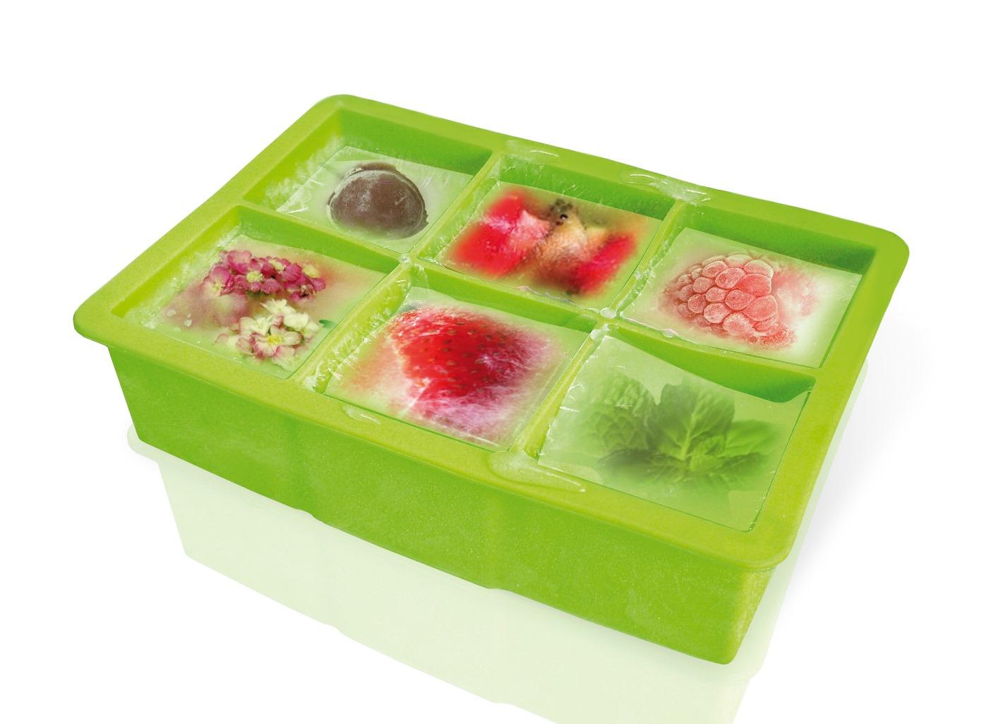 Онлайн каталог PROMENU: Форма силиконовая для льда VinBouquet COCKTAIL, на 6 ячеек (5х5 см), зеленая VinBouquet FIK 035