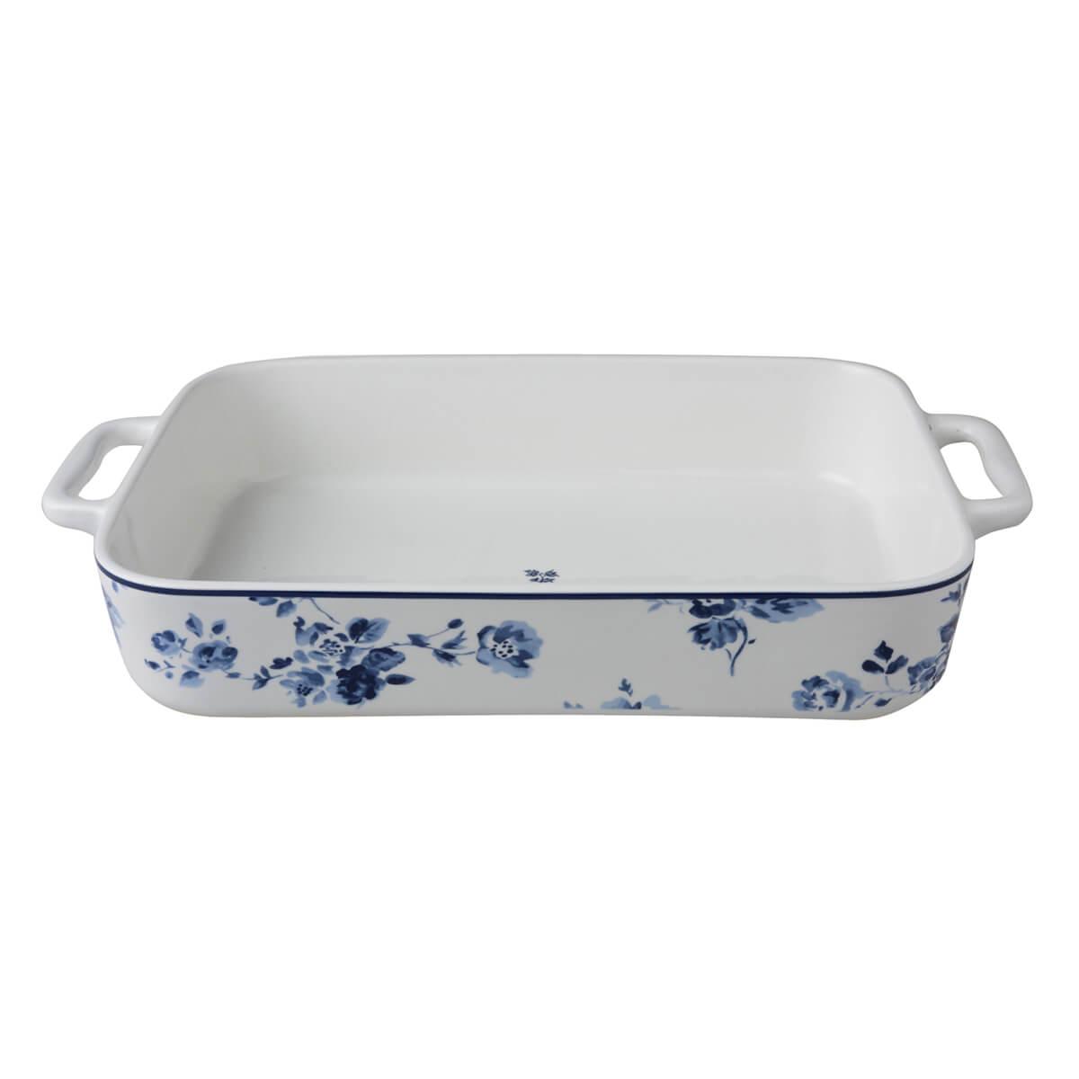 Онлайн каталог PROMENU: Форма для запекания фарфоровая Laura Ashley BLUEPRINT, 32х22,5 см, белый с синими розами                               179474
