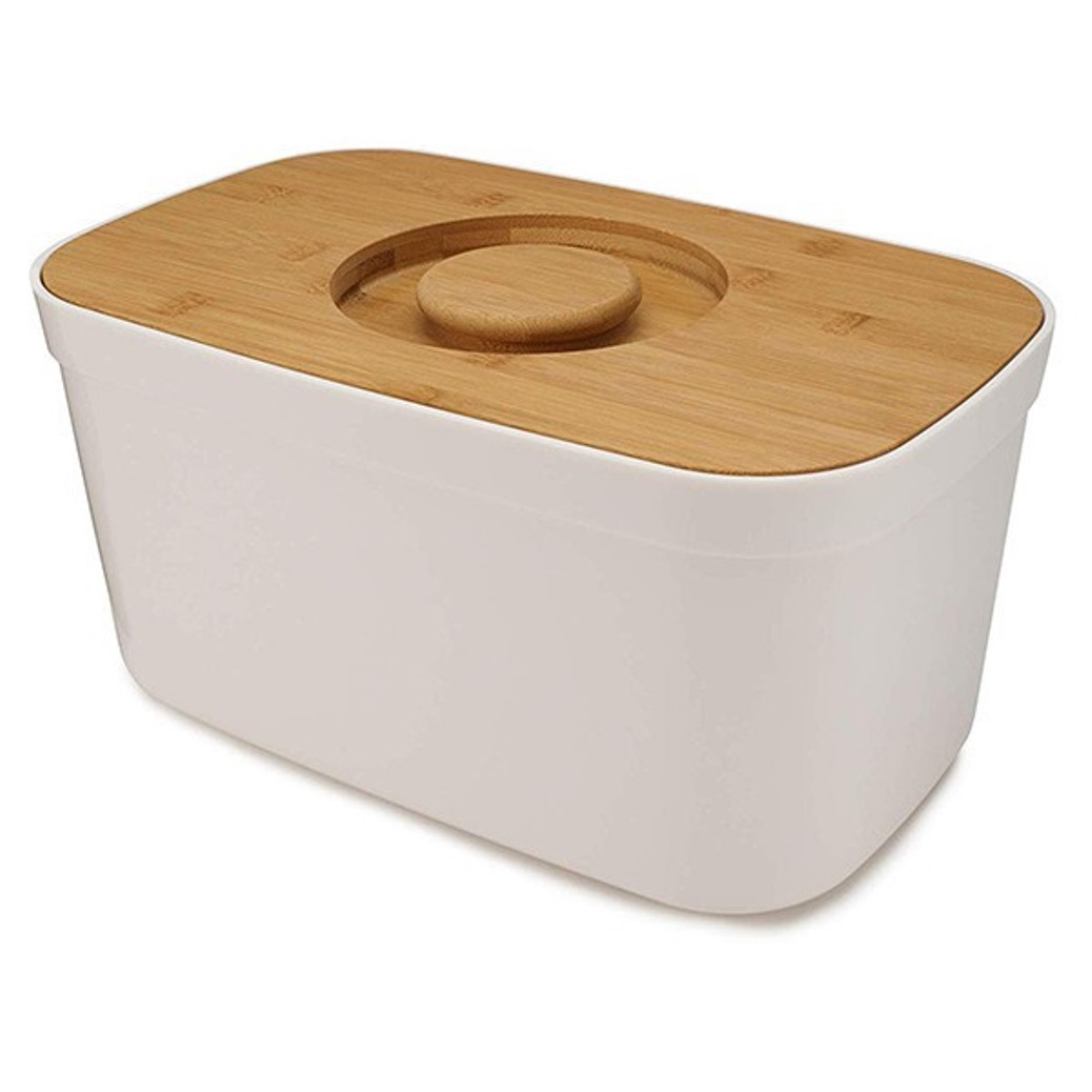 Онлайн каталог PROMENU: Хлебница с крышкой из бамбука Joseph Joseph, 18x37x22 см, белый                               81097