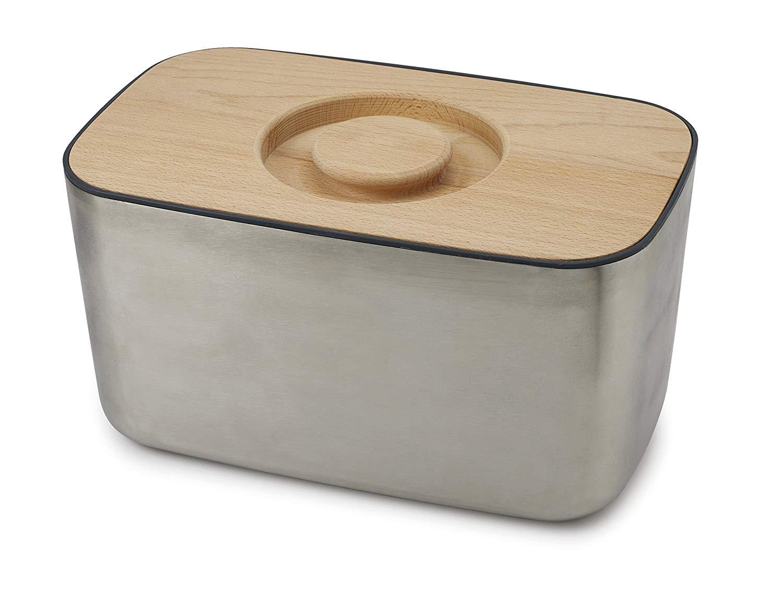 Онлайн каталог PROMENU: Хлебница с деревянной крышкой-доской Joseph Joseph 100 COLLECTION, 21,5x35,5x17,8 см, бежевый                               95033