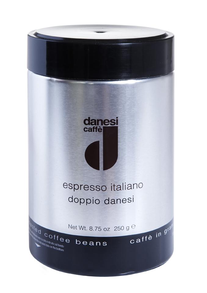 Онлайн каталог PROMENU: Кофе Doppio в зернах Danesi, 0,25 кг, жестяная банка, черный Danesi 1010045_new