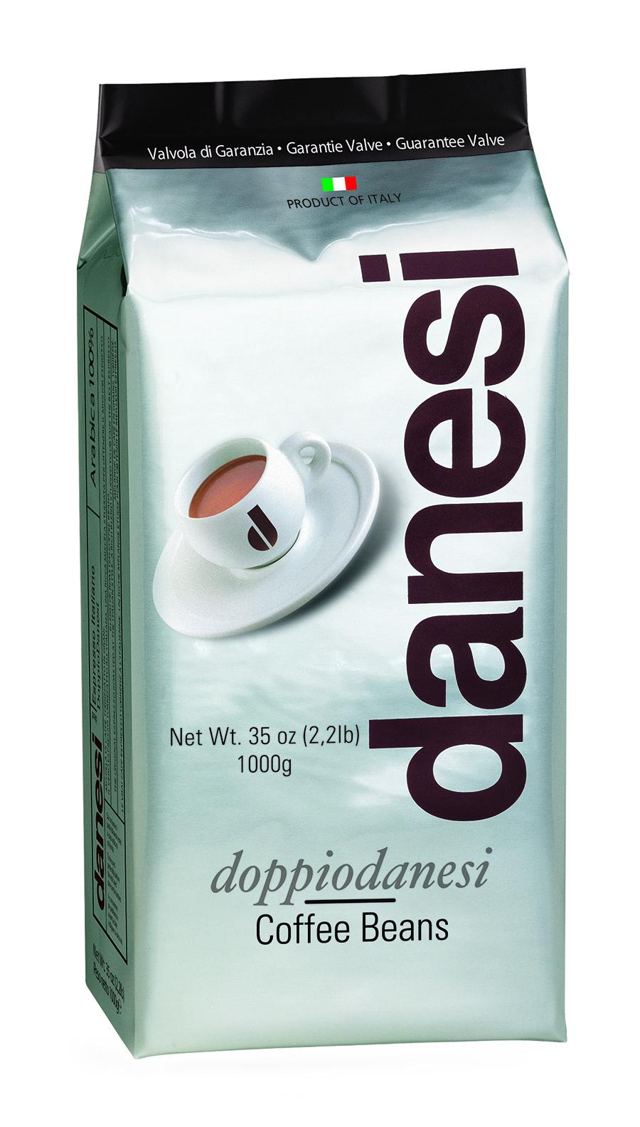 Онлайн каталог PROMENU: Кофе Doppio в зернах Danesi, 1 кг, вакуумный пакет с клапаном, черный Danesi 1050170_New
