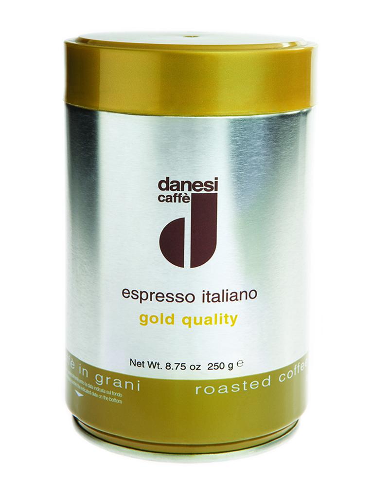 Онлайн каталог PROMENU: Кофе Gold в зернах Danesi, 0,25 кг, жестяная банка, желтый                               1010310_New
