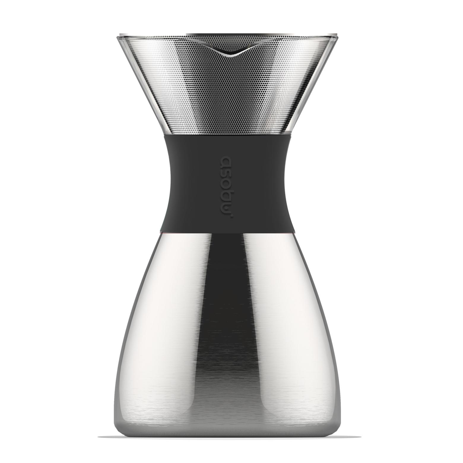 Онлайн каталог PROMENU: Кофеварка Asobu POUR OVER, объем 1,18 л, серебристый                               PO300 SILVER/BLACK