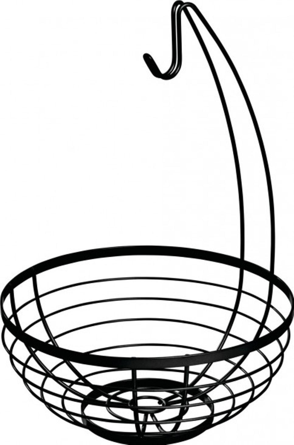 Онлайн каталог PROMENU: Корзина для фруктов с крючком для бананов iDesign AUSTIN, 27,3х27,3 см, черный Interdesign 51687EU