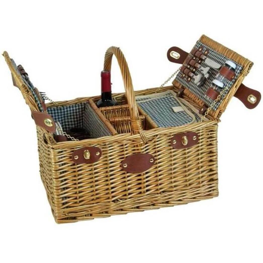 Онлайн каталог PROMENU: Корзина для пикника на 4 персоны Les Jardins De La Comtesse SAINT GERMAIN, 46х33х24 см, бежевый                               P-20001