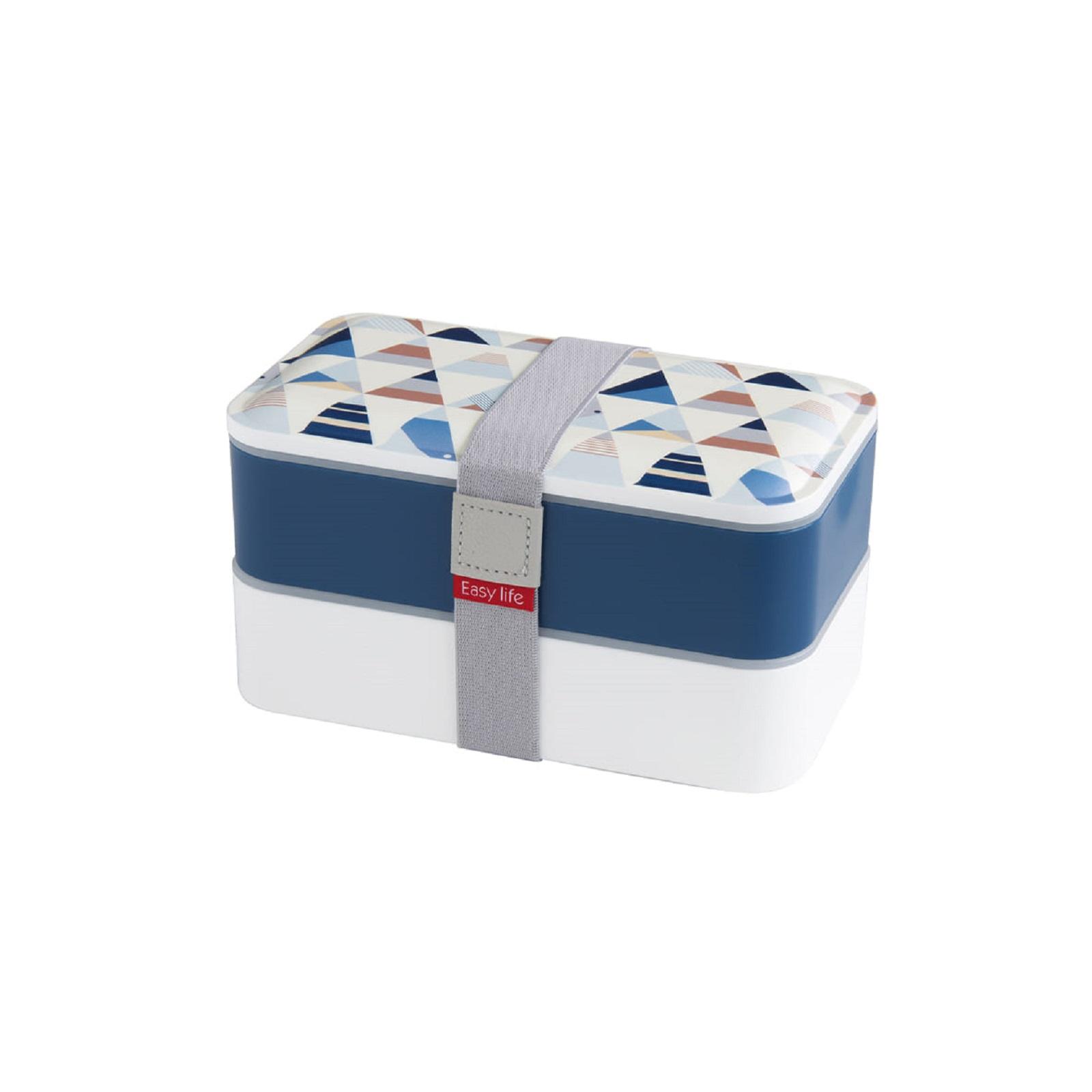 Ланч-бокс Easy Life, объем 1,2 л, 18,5x10,5x10 см, белый с синим Easy Life 2500 GEO1 фото 2