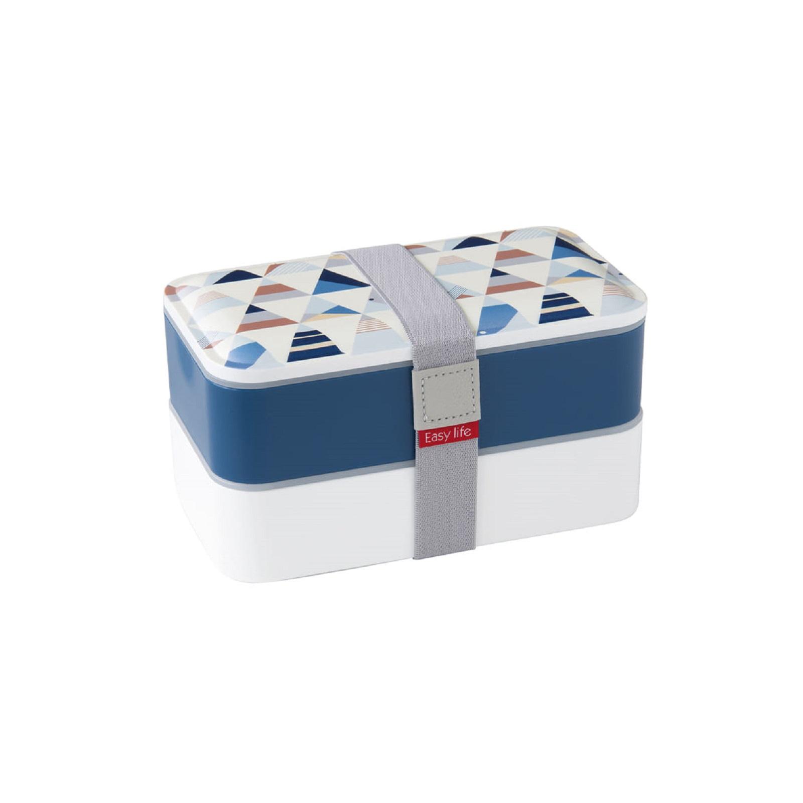 Ланч-бокс Easy Life, объем 1,2 л, 18,5x10,5x10 см, белый с синим Easy Life 2500 GEO1 фото 0