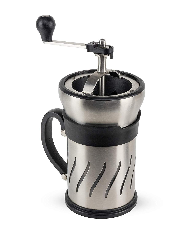 Онлайн каталог PROMENU: Мельница-кофеварка 2 в 1 с мерной ложкой Peugeot PARIS PRESS, на 4 чашки, диаметр 15 см, серебристый                               35297