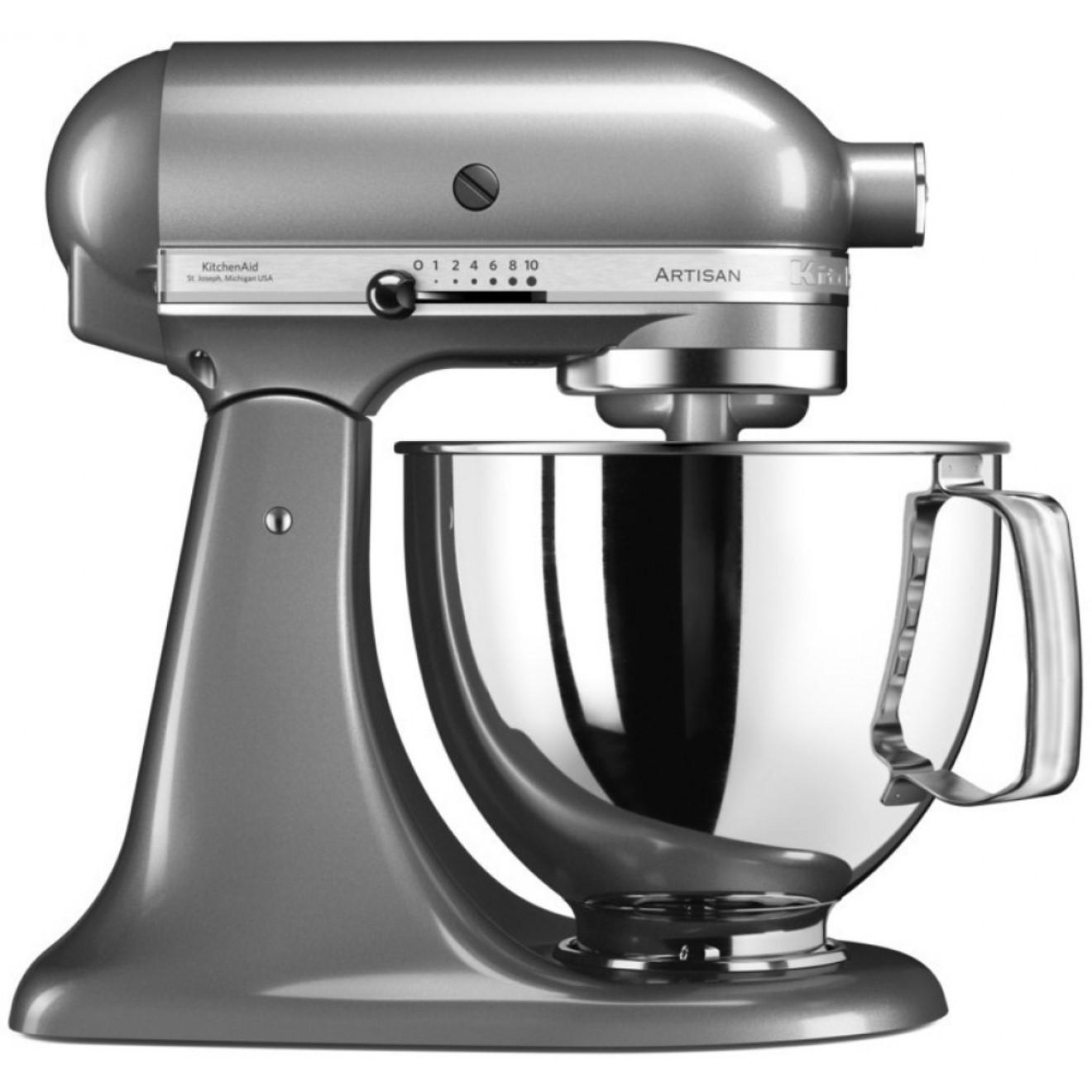 Онлайн каталог PROMENU: Миксер планетарный KitchenAid Artisan, объем чаши 4,83 л, серебристый                  KitchenAid 5KSM125ECU