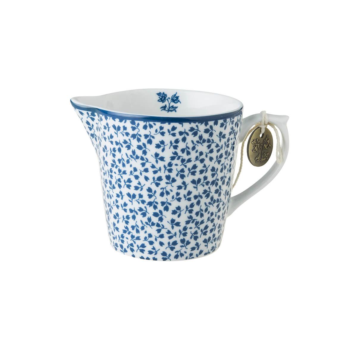 Онлайн каталог PROMENU: Молочник фарфоровый Laura Ashley BLUEPRINT, высота 8 см, белый в синий мелкий цветок                               178681