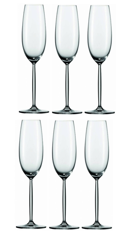 Онлайн каталог PROMENU: Набор бокалов для шампанского Schott Zwiesel Diva, объем 0,219 л, 6 шт.                               104100_6шт