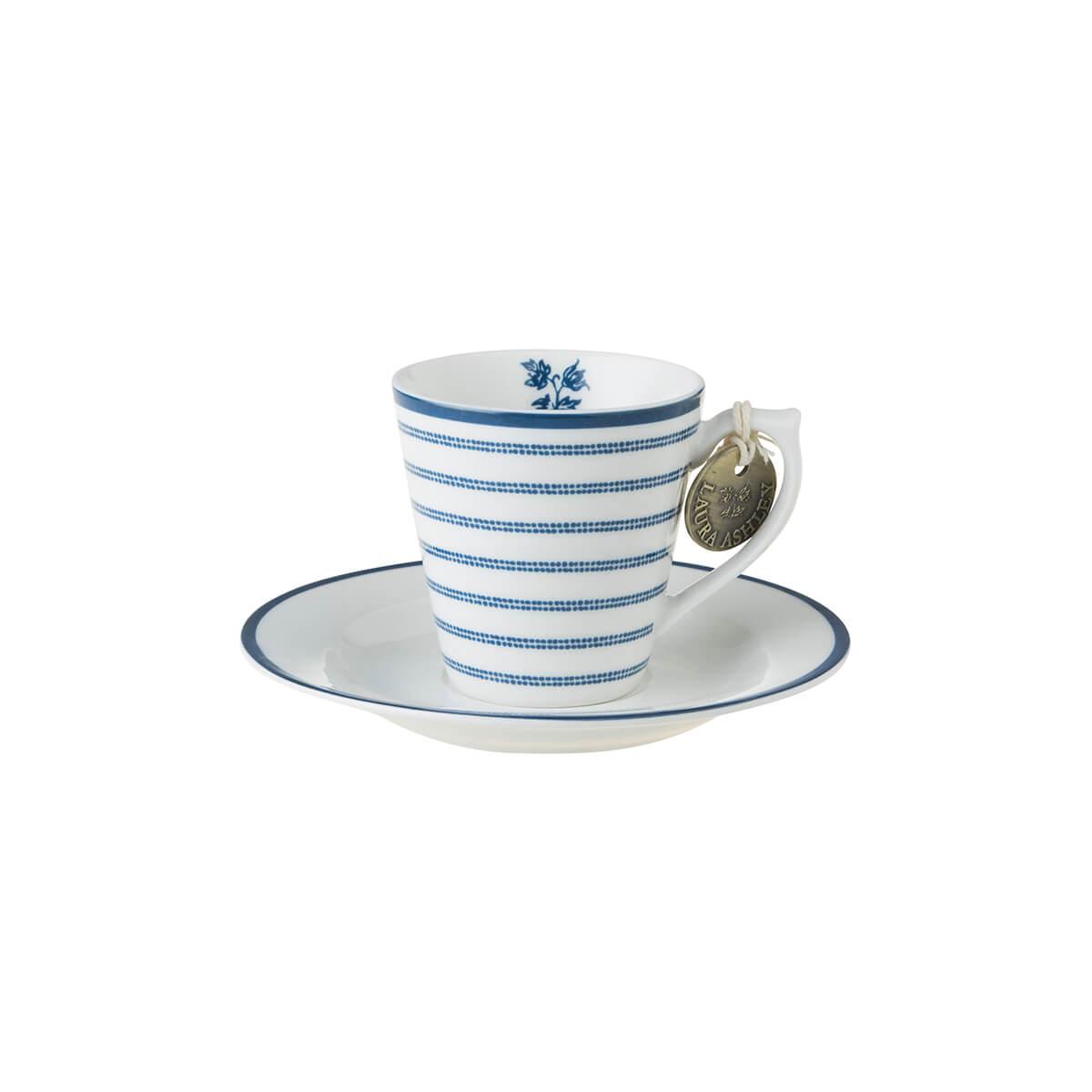Онлайн каталог PROMENU: Набор: чашка с блюдцем эспрессо Laura Ashley BLUEPRINT, белый в синюю полоску Laura Ashley 178692