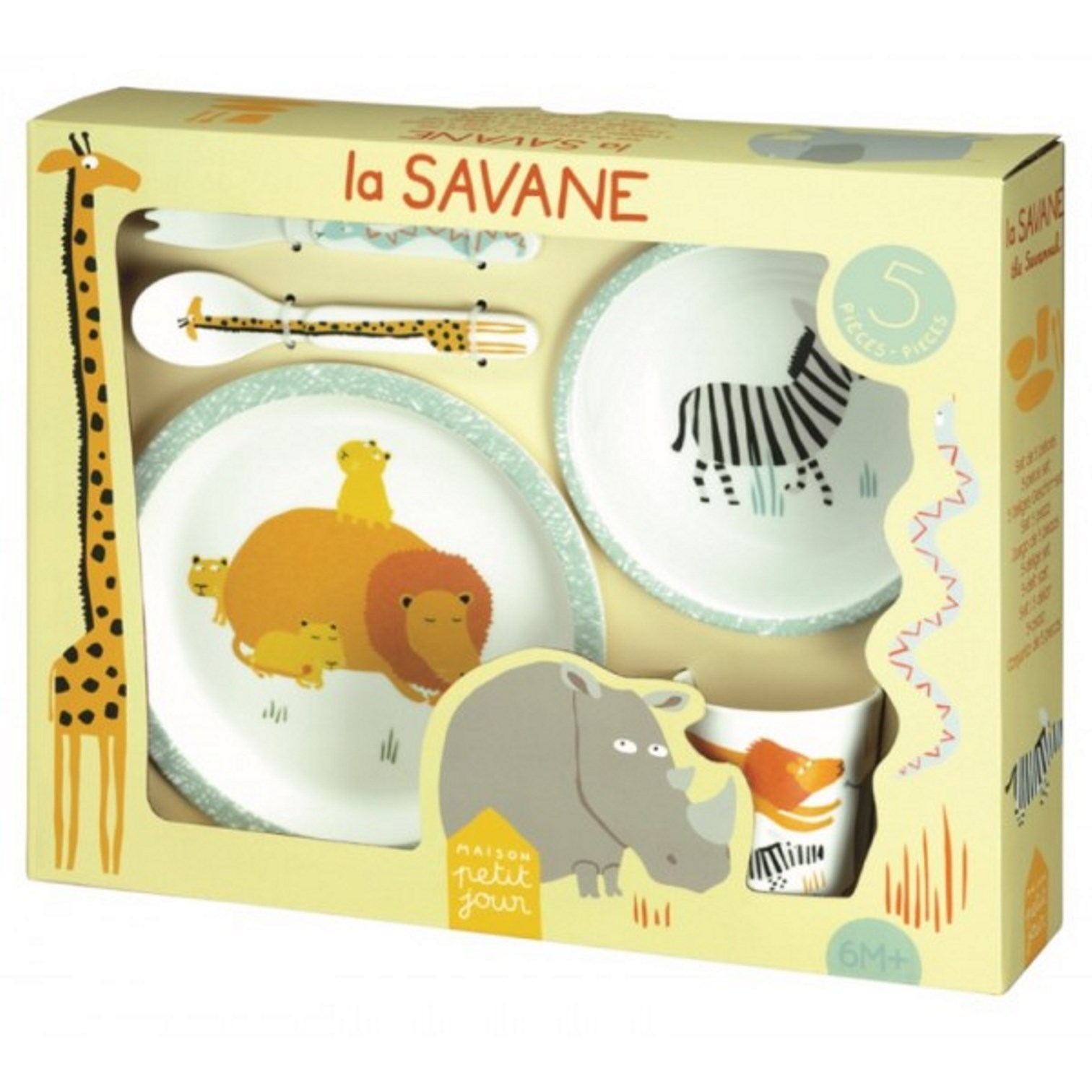 "Онлайн каталог PROMENU: Набор детский ""Животные"" (тарелка, пиала, стакан, ложка, вилка) Maison Petit Jour SAVANNAH, 33,5x27x7 см, белый, 5 предметов                               SA701N"