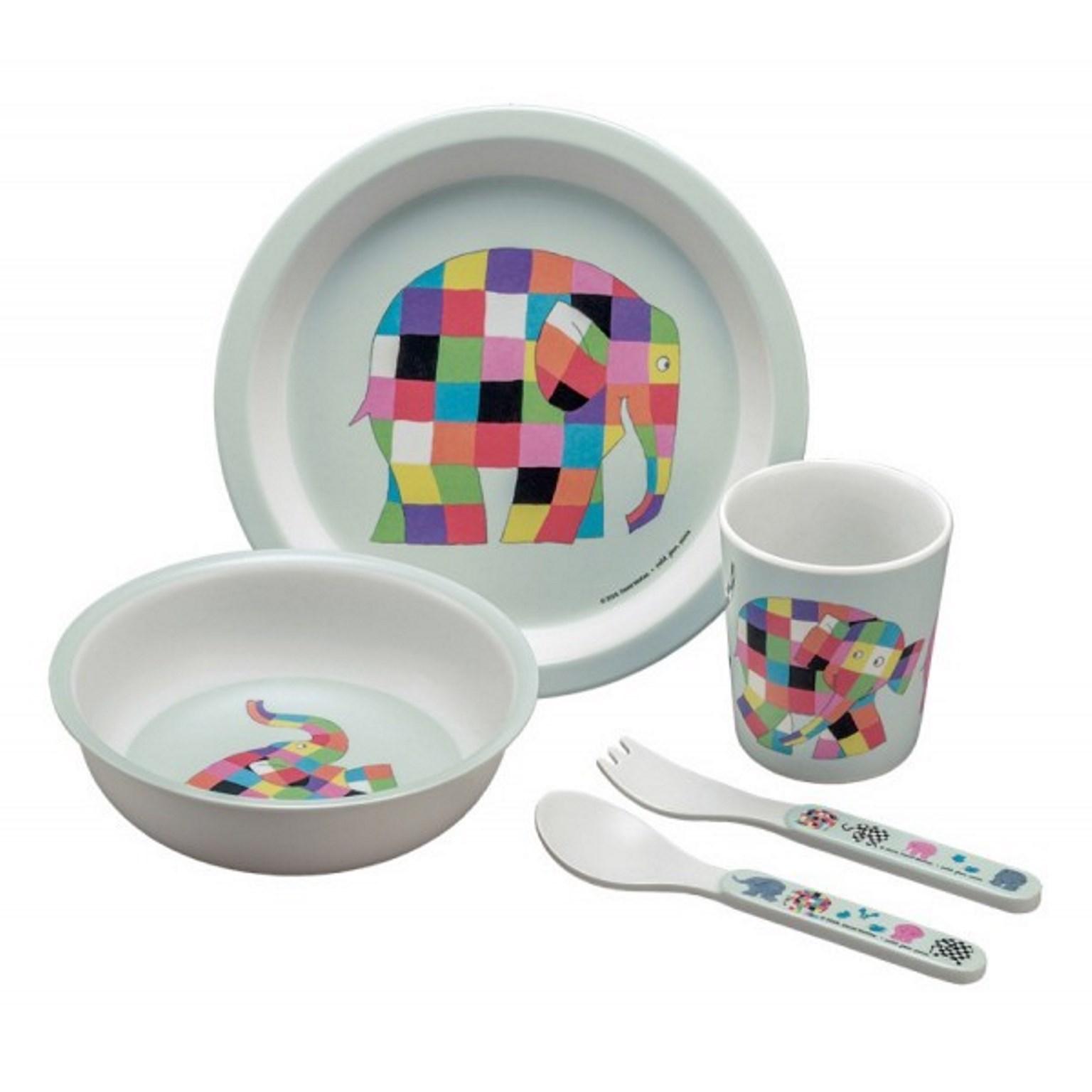 """Онлайн каталог PROMENU: Набор детский """"Животные"""" (тарелка, пиала, стакан, ложка, вилка) Maison Petit Jour ELMER, белый, 5 предметов                               EL701P"""