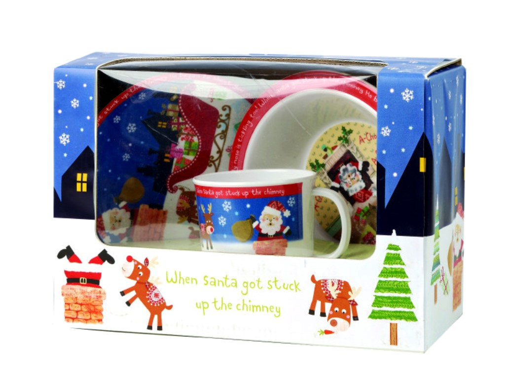 "Онлайн каталог PROMENU: Набор детской посуды ""Санта"" в подарочной упаковке (кружка 220 мл, тарелка глубокая 16,5 см, тарелка плоская 16 см) Churchill LITTLE RHYMES, 3 предмета Churchill SANT00081"