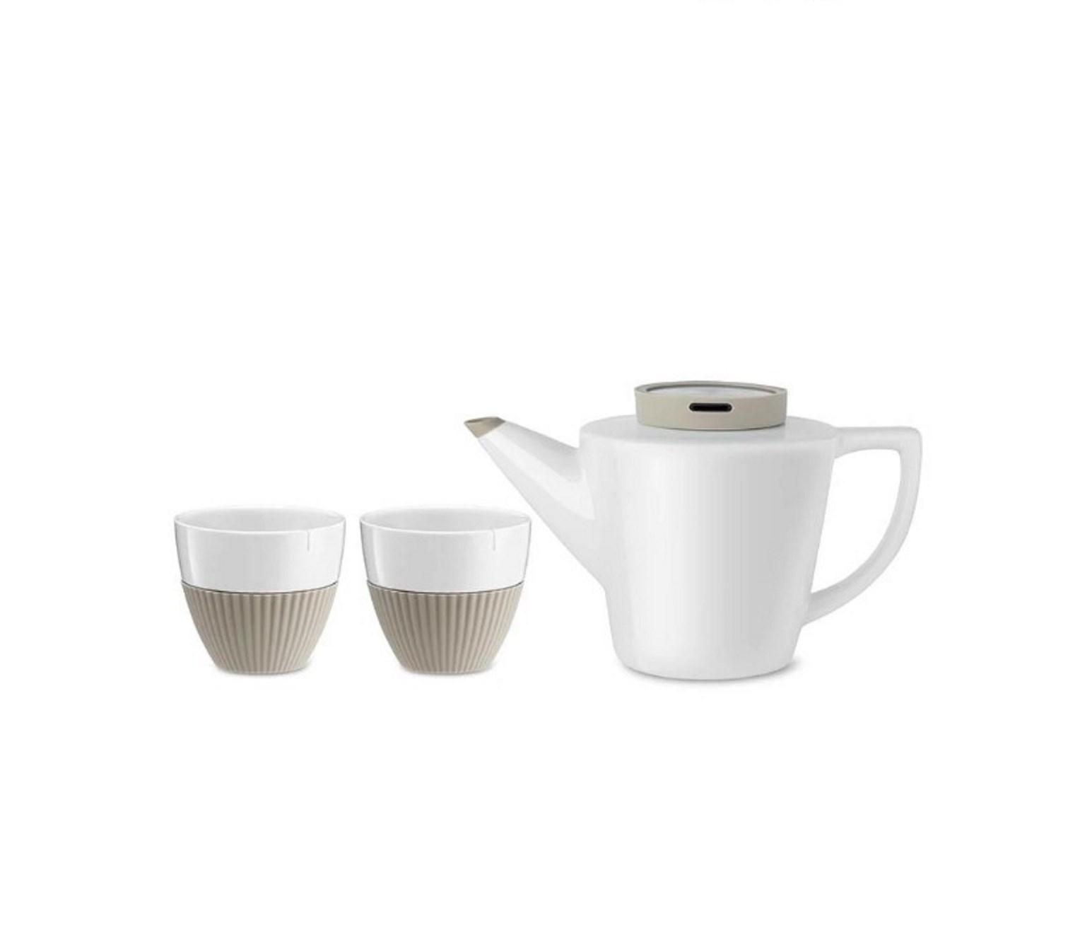 Онлайн каталог PROMENU: Набор для чая (чайник 22,8х13,3х13,4 см и 2 чашки 8,5х9,4 см) Viva Scandinavia INFUSION, бежевый, 3 предмета  V24121