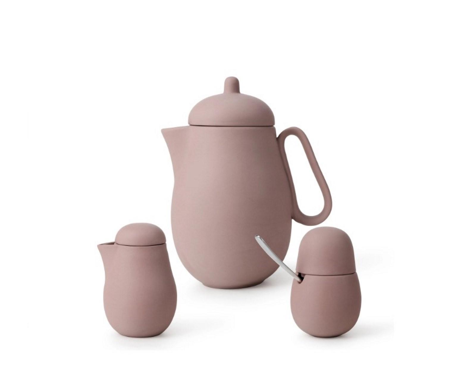 Онлайн каталог PROMENU: Набор для чая (чайник 15,8х11,5х20 см, молочник 7х11,3 см, сахарница 7,5х11,3) Viva Scandinavia NINA powder brown, розовый, 3 предмета                               V78462