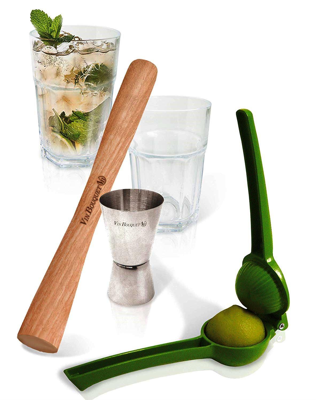 Онлайн каталог PROMENU: Набор для коктейлей (2 стакана, мадлер, джиггер, соковыжималка для цитрусовых) VinBouquet COCKTAIL, 5 предметов                               FIK 018 set