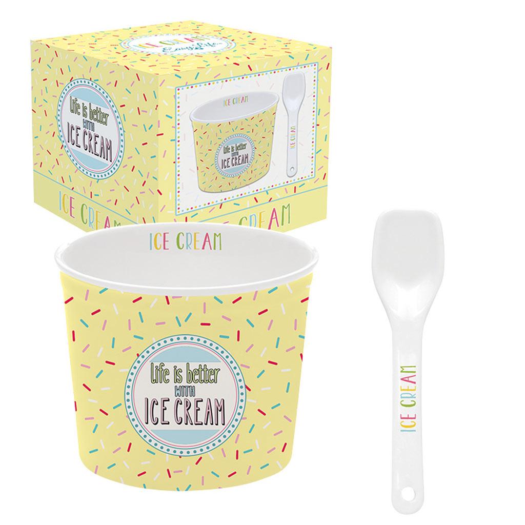 Онлайн каталог PROMENU: Набор для мороженого: фарфоровая чаша с ложкой Nuova R2S ICE CREAM, желтый, 2 предмета                               083 ONF2