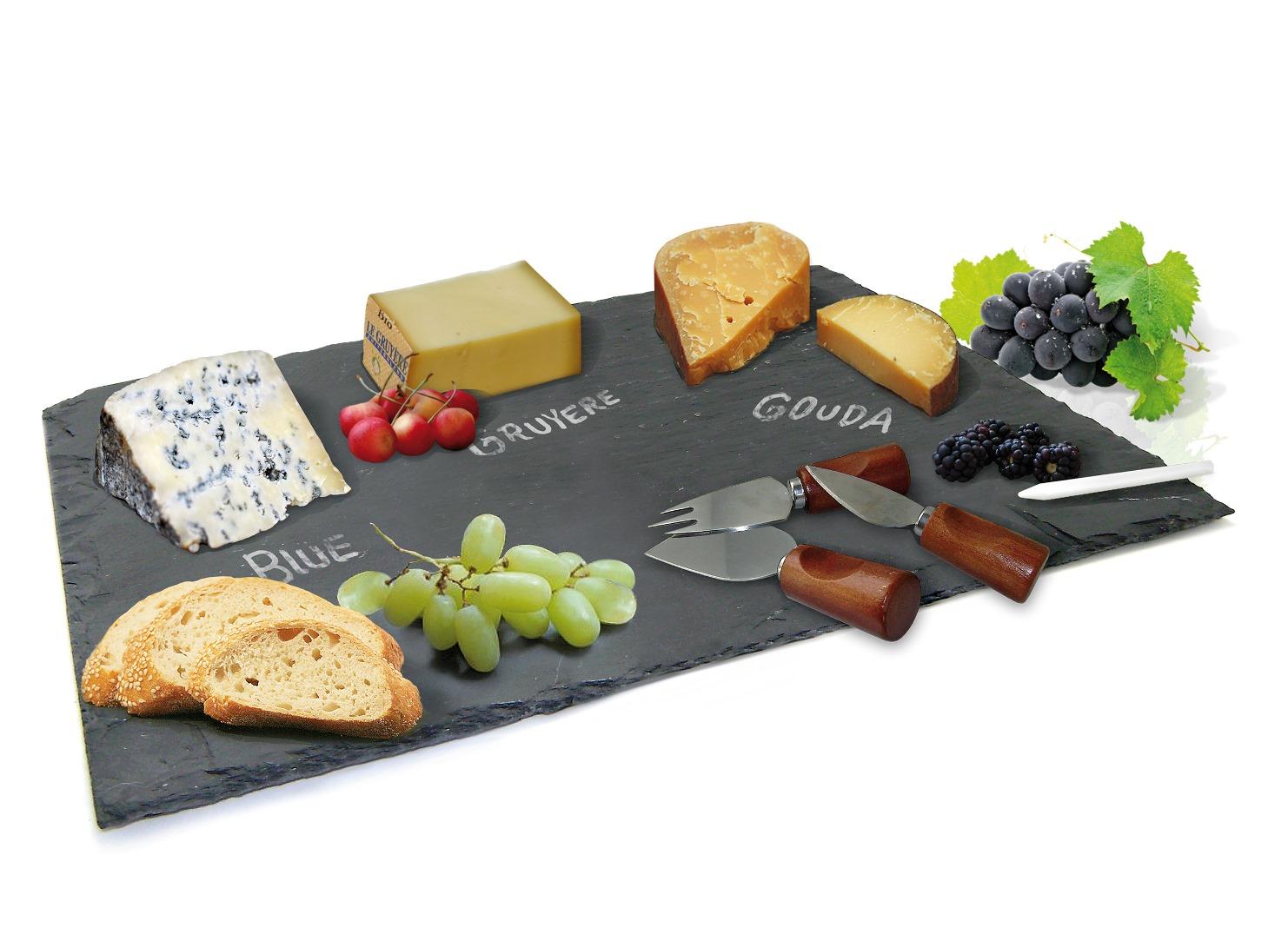 Онлайн каталог PROMENU: Набор для сыра: каменная доска, нож для твердого, мягкого и крем-сыра Nerthus, 4 предмета                               FIH 014