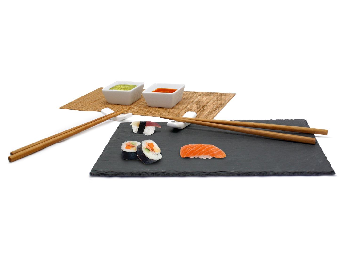 Онлайн каталог PROMENU: Набор для суши с гранитной доской и бамбуковой подставкой Nerthus, 7  предметов                               FIH 092