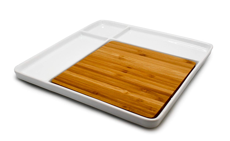 Онлайн каталог PROMENU: Набор фарфоровый для закусок с бамбуковой доской Nerthus, 29х29х3,6 см, белый                               FIH 336