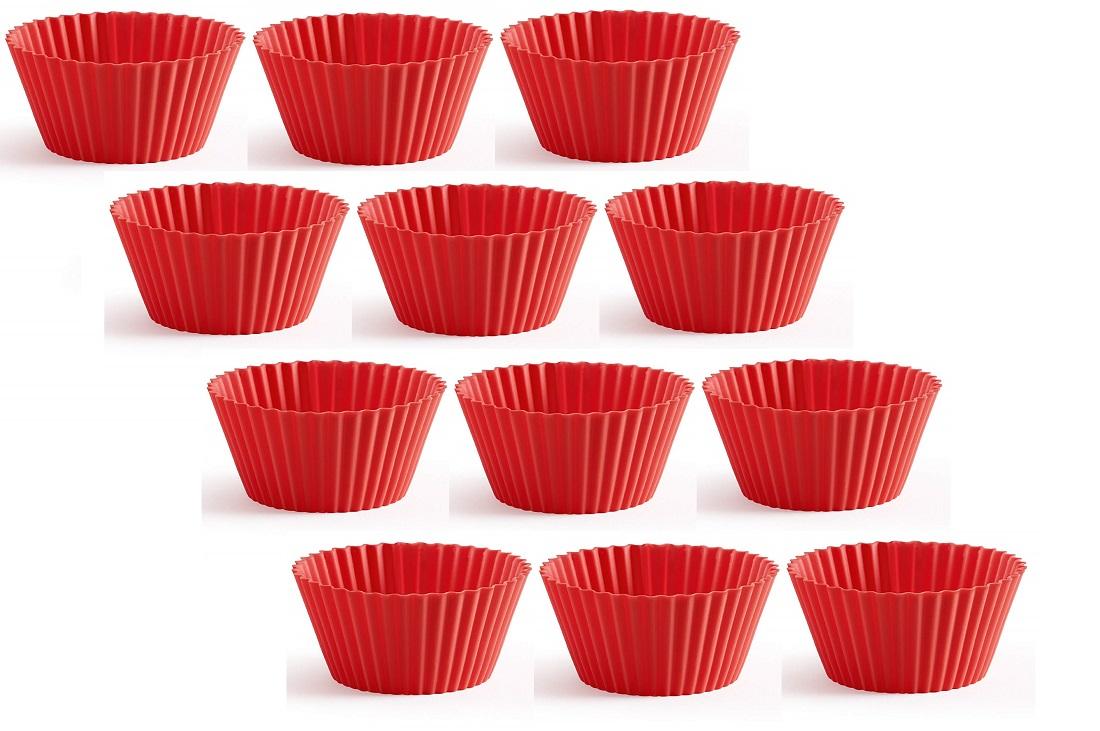Онлайн каталог PROMENU: Набор: силиконовые многоразовые формы для выпечки кексов Lekue, 7 см, красный, 12 штук Lekue 0240212R01M033