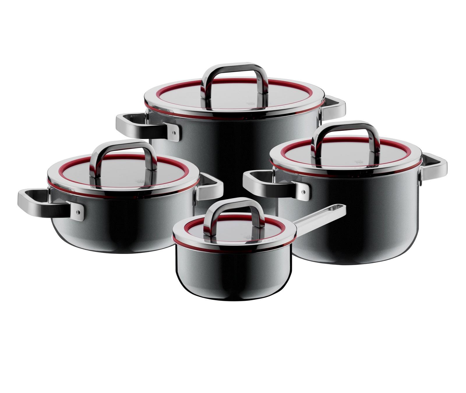 Онлайн каталог PROMENU: Набір кухонного посуду WMF FUSIONTEC MINERAL: 3 каструлі і соусник, з кришками, чорний, 8 предметів  05 1740 5290