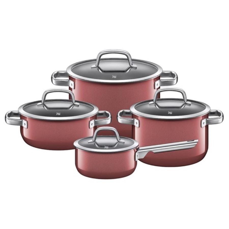 Онлайн каталог PROMENU: Набор кухонной посуды: 3 кастрюли и соусник, с крышками WMF FUSIONTEC MINERAL, бордовый, 8 предметов                               05 1489 5290
