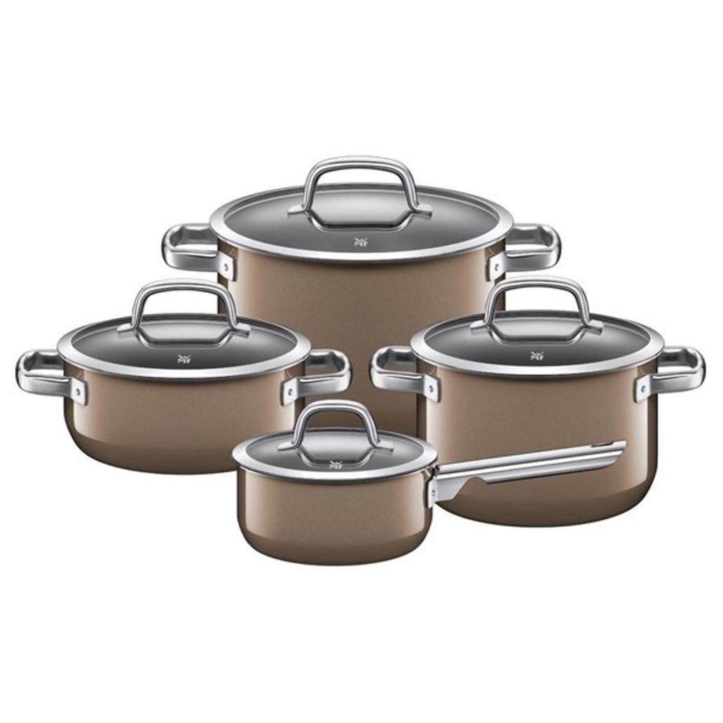 Онлайн каталог PROMENU: Набор кухонной посуды: 3 кастрюли и соусник, с крышками WMF FUSIONTEC MINERAL, коричневый, 8 предметов                               05 1487 5290