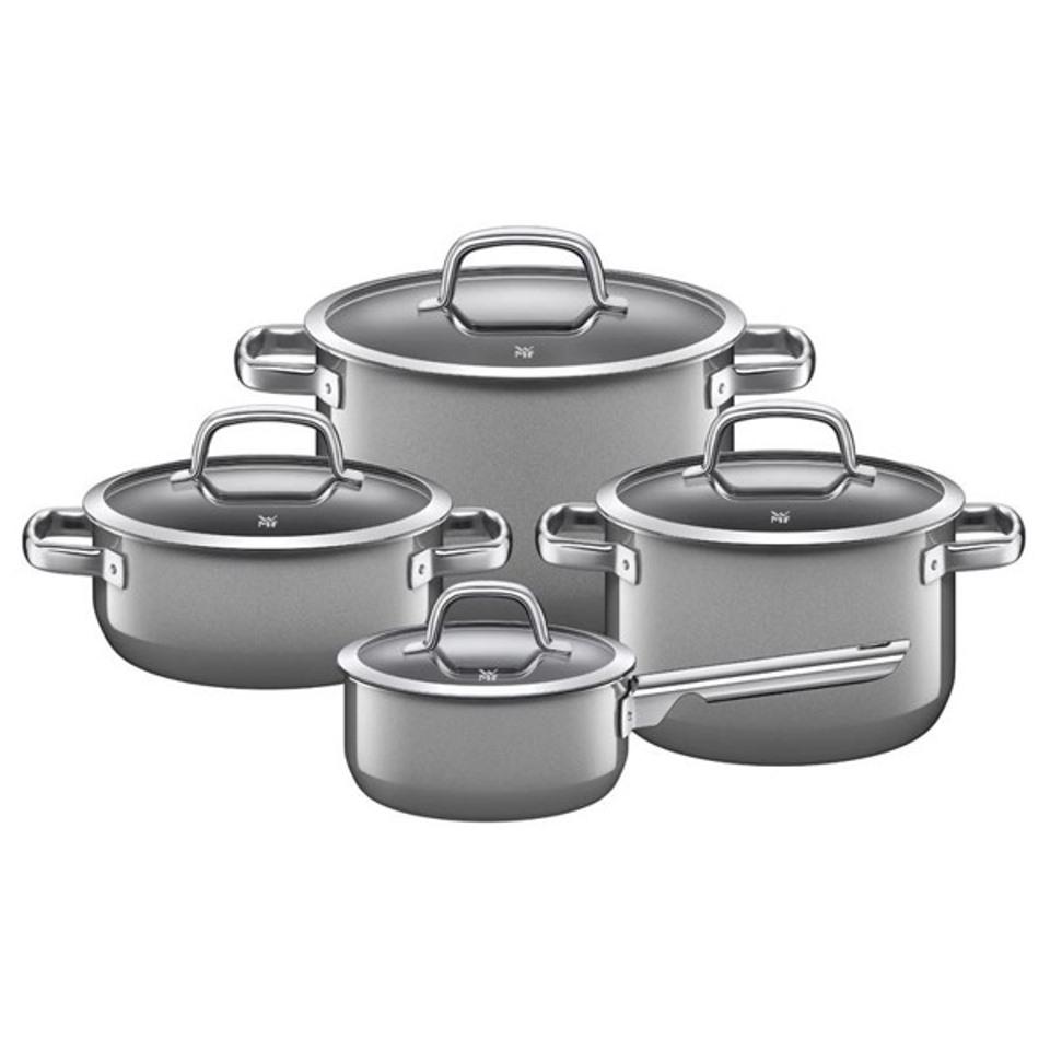 Онлайн каталог PROMENU: Набор кухонной посуды: 3 кастрюли и соусник, с крышками WMF FUSIONTEC MINERAL, серый, 8 предметов                               05 1488 5290
