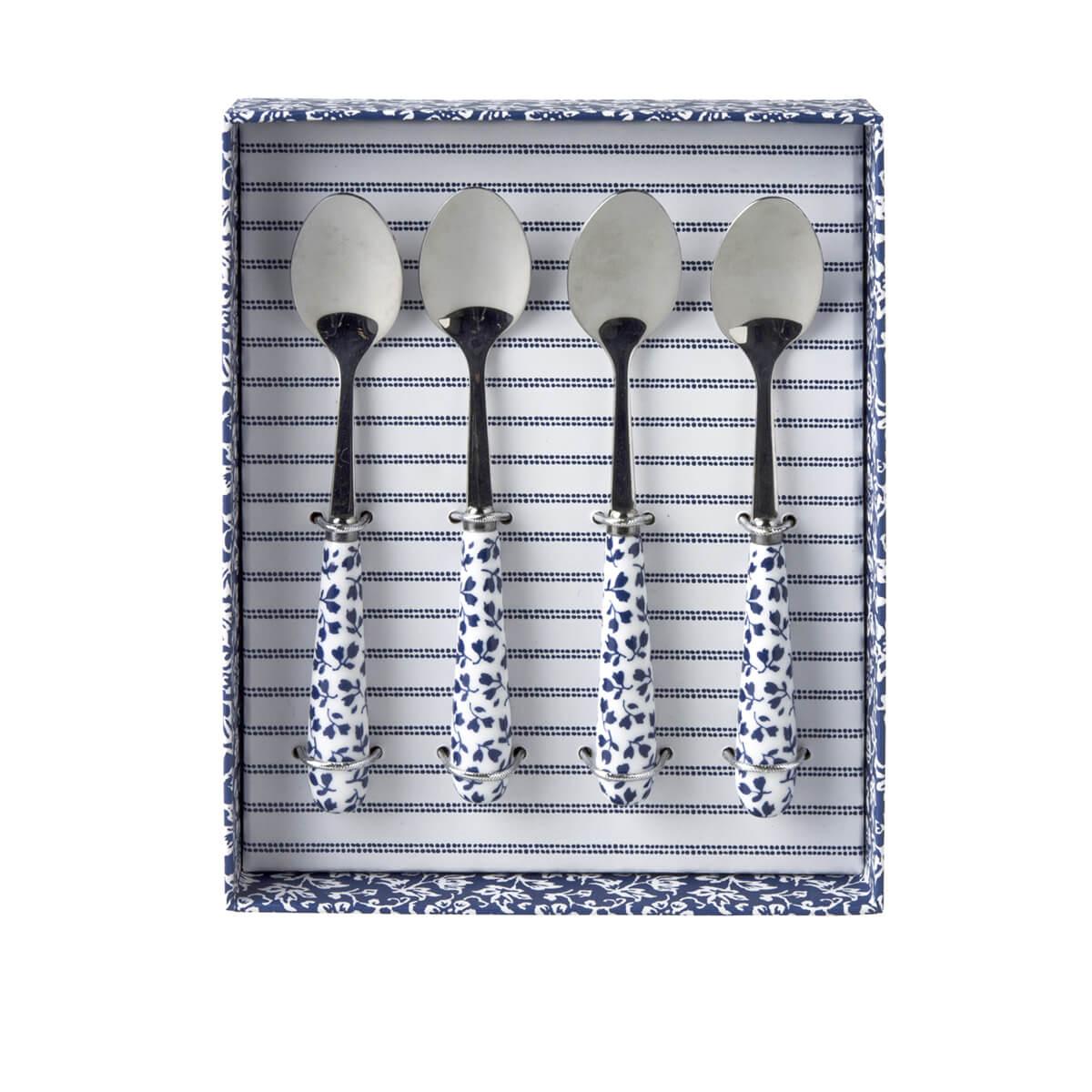 Онлайн каталог PROMENU: Набор ложек чайных Laura Ashley BLUEPRINT, белый в синий цветочек, 4 штуки в наборе                               178807