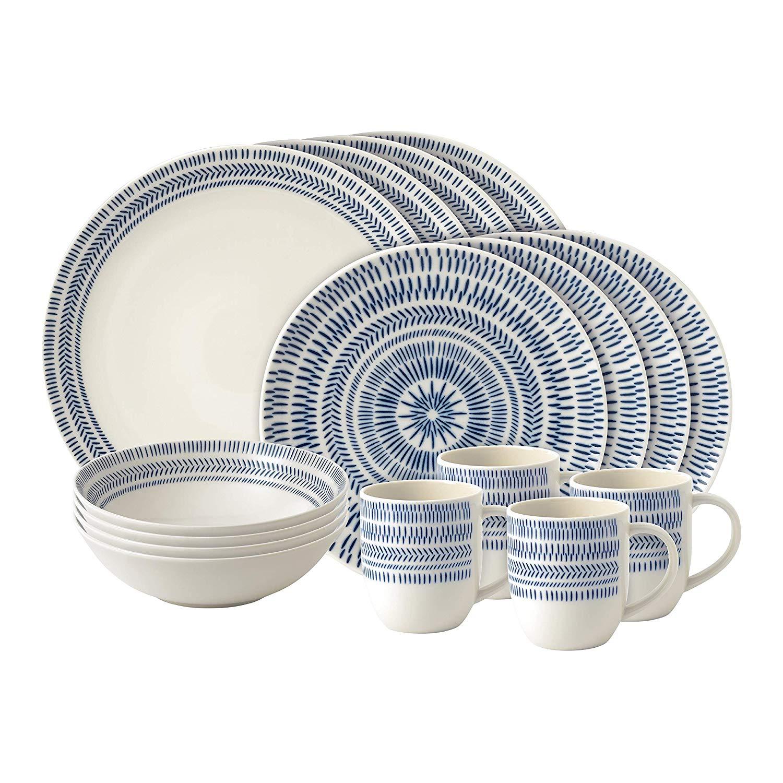 Онлайн каталог PROMENU: Набор посуды столовой Royal Doulton Dark Blue Chevron, фарфор, синий, 16 предметов                               40027603