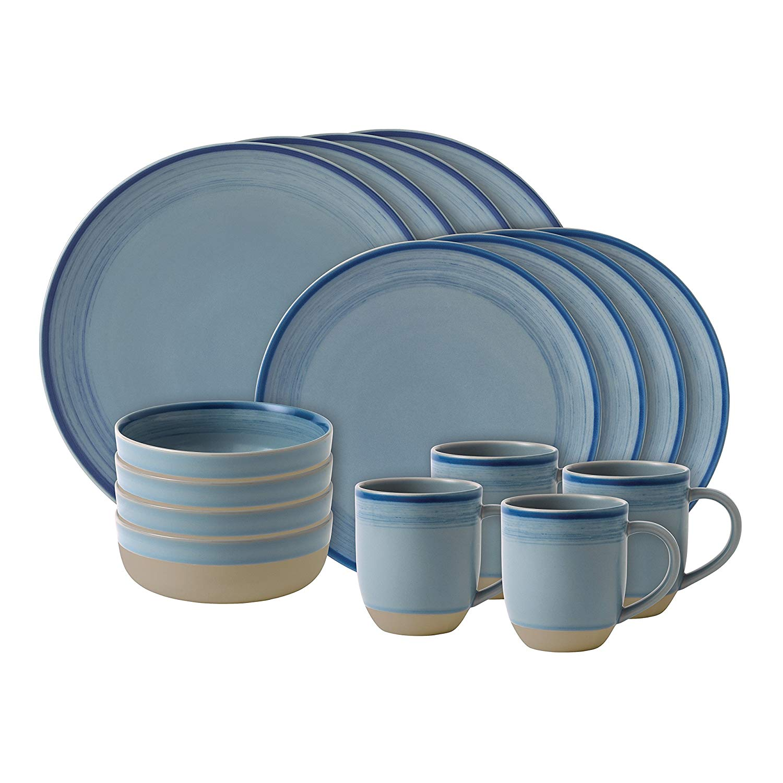 Онлайн каталог PROMENU: Набор посуды столовой Royal Doulton Brushed Glaze Polar Blue, керамика, голубой, 16 предметов                               40027652