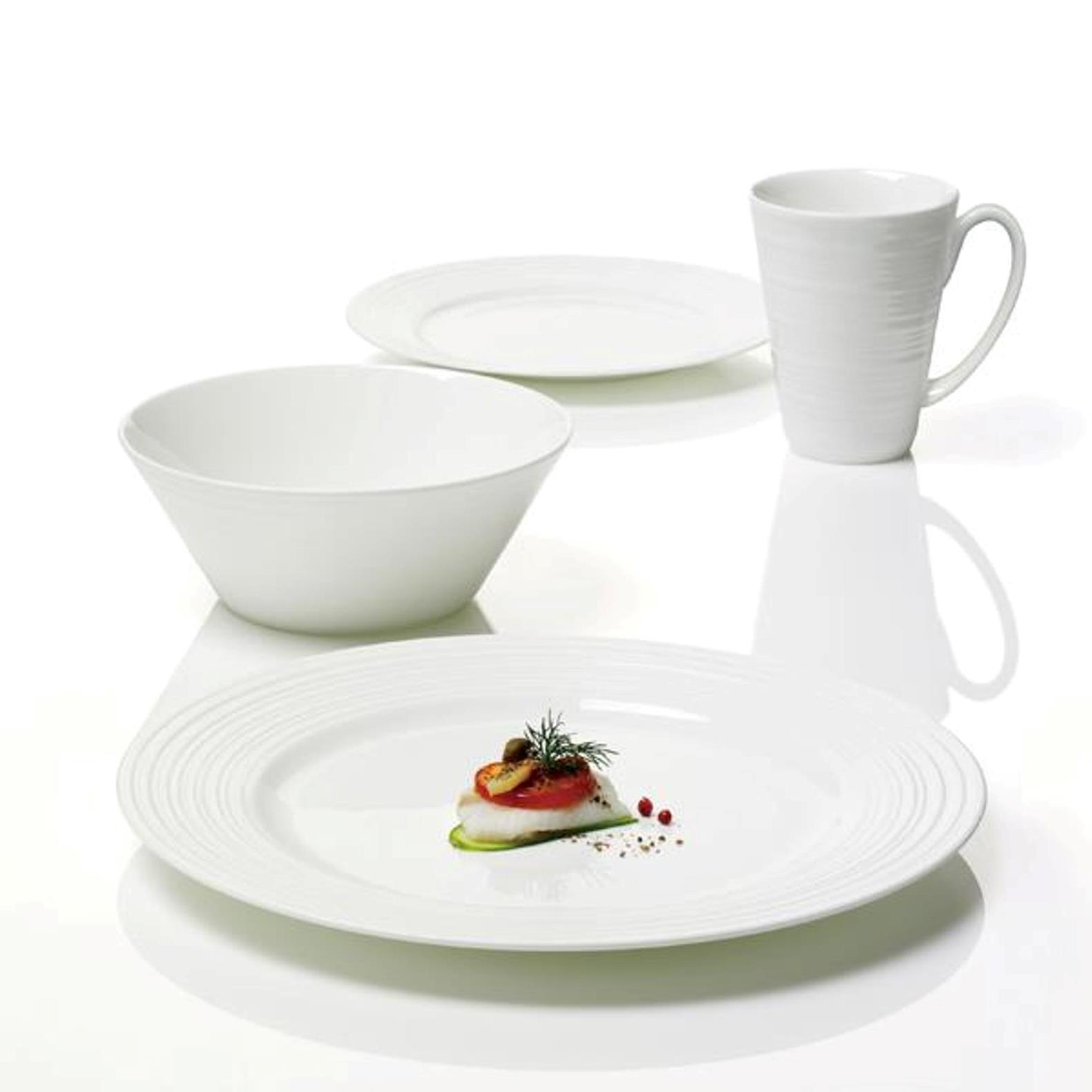 Онлайн каталог PROMENU: Набор столовой посуды (тарелки, пиалы и кружки) Aida PASSION, костяной фарфор, белый, 16 предметов                               19256