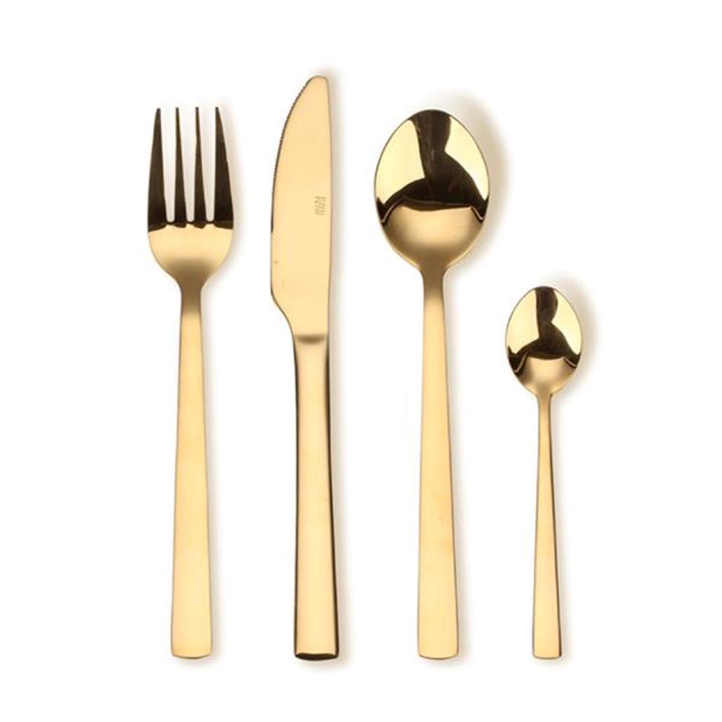 Онлайн каталог PROMENU: Набор приборов столовых Aida RAW, нержавеющая сталь, 16 предметов, золотистый                               15460